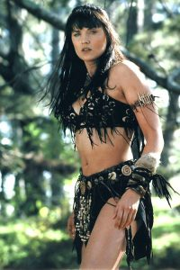Lucy Lawless as Xena the Warrior Princess, whose photo was enshrined at Something Special along with other celebrity stills